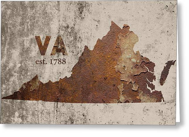 Virginia State Map Industrial Rusted Metal On Cement Wall With Founding Date Series 028 Greeting Card by Design Turnpike