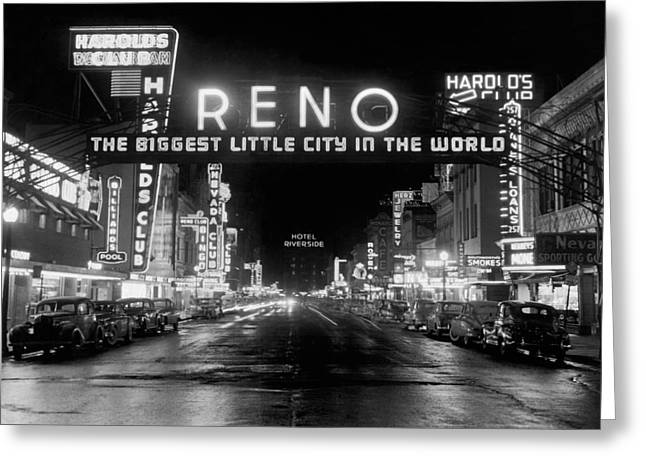 Virginia Street In Reno Greeting Card by Underwood Archives