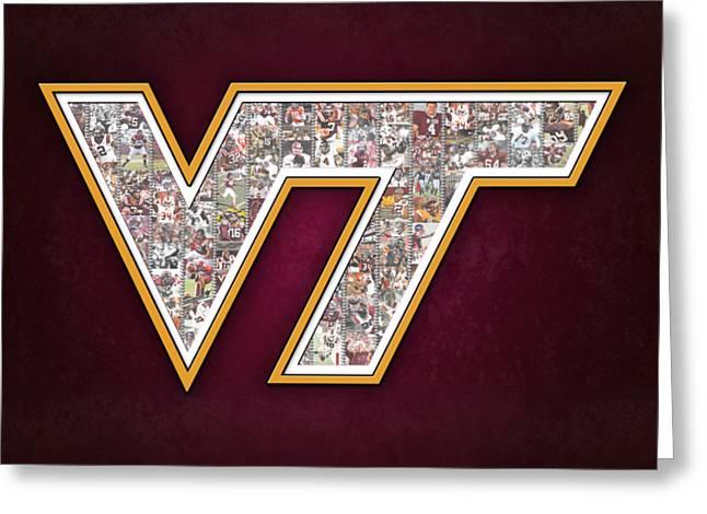 Virginia Tech Football Greeting Card by Fairchild Art Studio