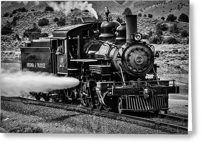 Virginia Truckee Train In Black And White Greeting Card