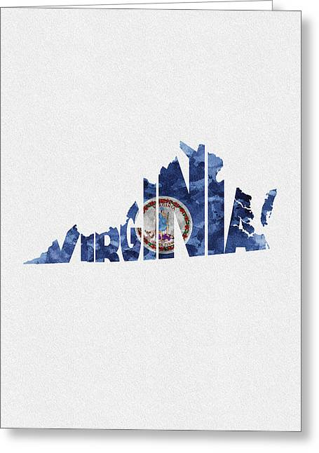 Virginia Typographic Map Flag Greeting Card