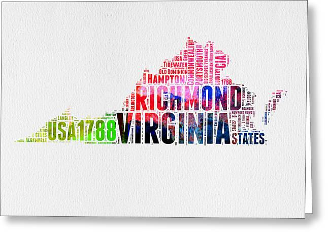 Virginia Watercolor Word Map Greeting Card