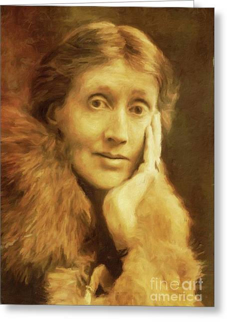Virginia Woolf, Literary Legend By Mary Bassett Greeting Card by Mary Bassett