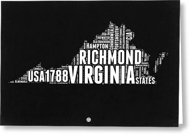 Virginia Word Cloud Black And White Map Greeting Card by Naxart Studio