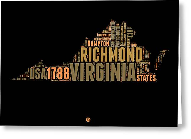 Virginia Word Cloud Map 1 Greeting Card