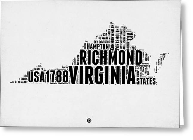 Virginia Word Cloud Map 2 Greeting Card by Naxart Studio