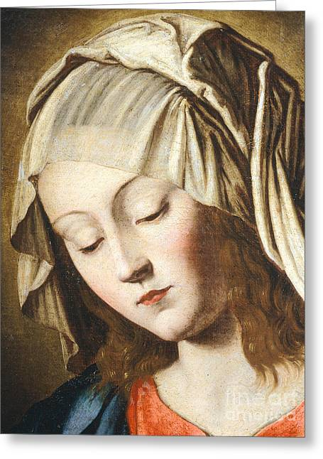 Virgin's Face, Detail From Virgin In Prayer Greeting Card