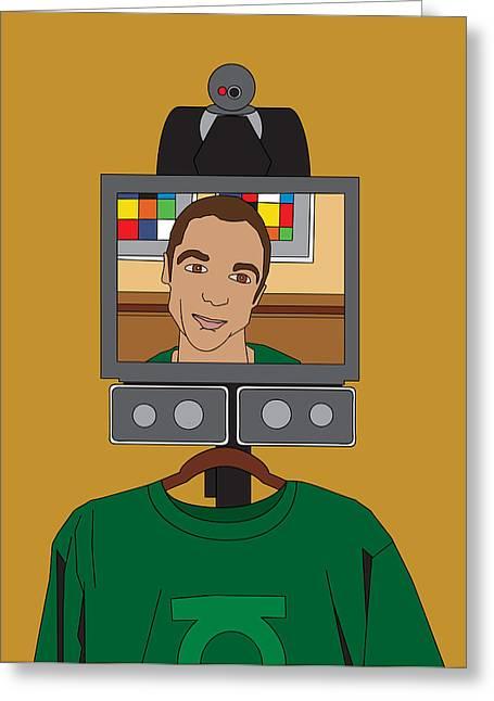 The Big Bang Greeting Cards - Virtual Sheldon Cooper Greeting Card by Tomas Raul Calvo Sanchez