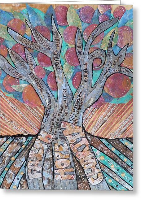 Virtue Tree Greeting Card by Carol Cole