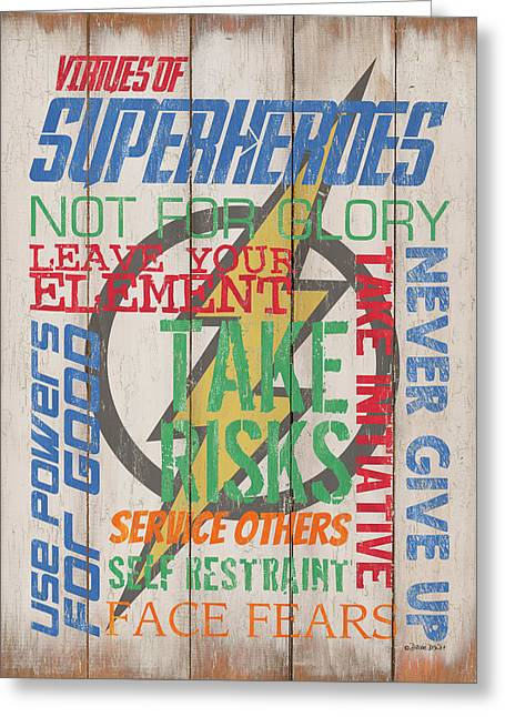 Virtues Of A Superhero Greeting Card by Debbie DeWitt