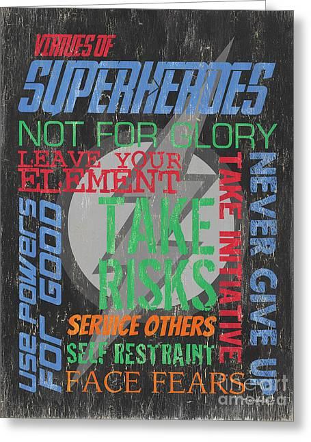 Virtues Of Superheroes Greeting Card by Debbie DeWitt