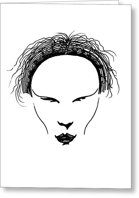 Greeting Card featuring the drawing Visage by Keith A Link