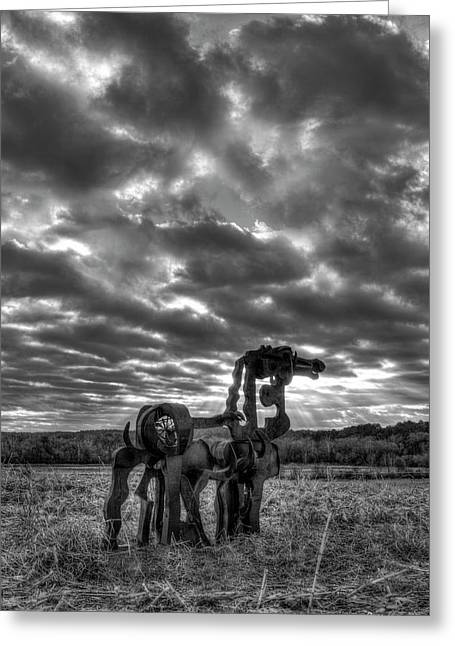 Visible Lights 2 Bw The Iron Horse Sunrise Art Greeting Card by Reid Callaway