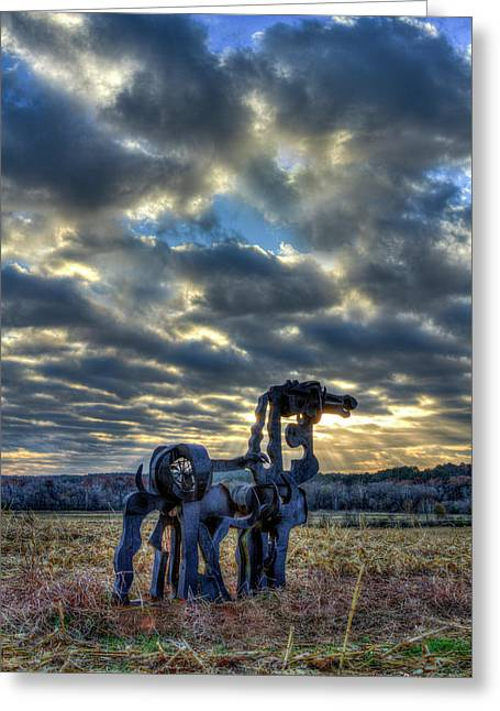 Visible Light The Iron Horse Sunrise Art Greeting Card by Reid Callaway