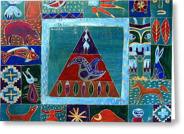 Vision Of Native North America Greeting Card by Aliza Souleyeva-Alexander