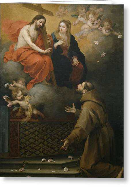 Vision Of Saint Francisco At The Porziuncola Greeting Card by Bartolome Esteban Murillo