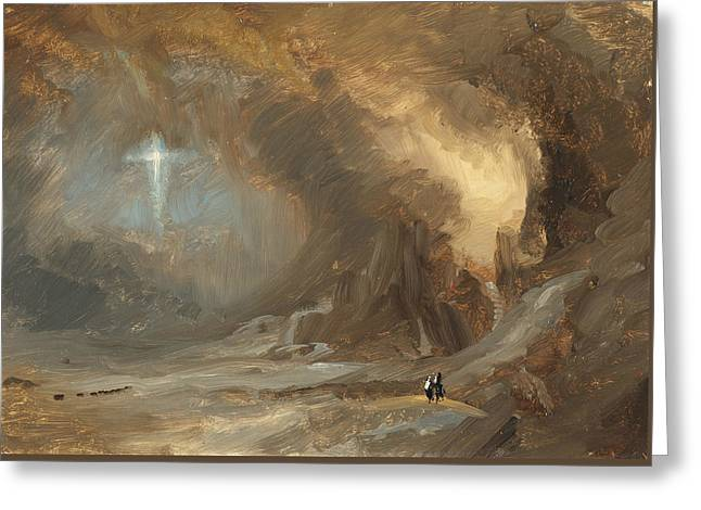 Vision Of The Cross Greeting Card by Frederic Edwin Church