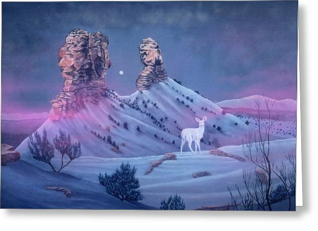 Vision Of The Legend Of White Deer Woman-chimney Rock Colorado Greeting Card