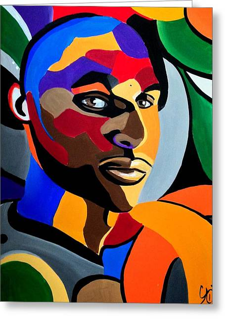 Visionaire, Abstract Male Face Portrait Painting - Illusion Abstract Artwork - Chromatic Greeting Card