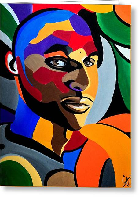Visionaire Male Abstract Portrait Painting Chromatic Abstract Artwork Greeting Card