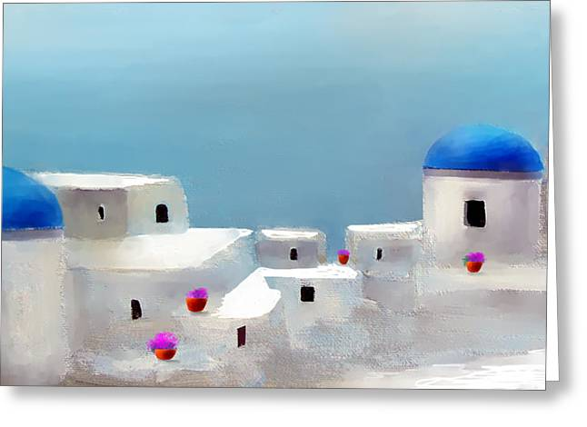 Visions Of Greece Greeting Card by Larry Cirigliano