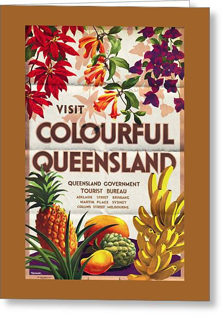 Visit Colorful Queensland - Vintage Poster Folded Greeting Card
