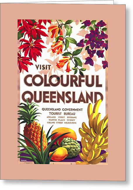 Visit Colorful Queensland - Vintage Poster Restored Greeting Card