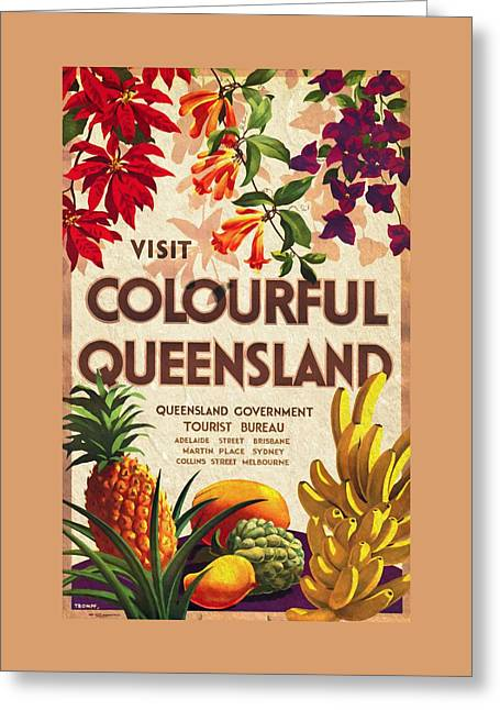 Visit Colorful Queensland - Vintage Poster Vintagelized Greeting Card