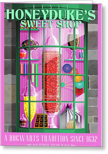 Visit Honeydukes Sweet Shop Greeting Card by Christopher Ables