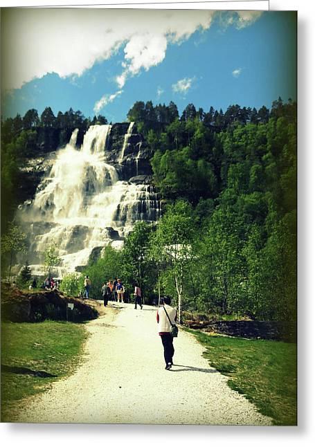 Visit To Tvindefossen Falls Greeting Card