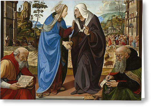 Visitation With Saint Nicholas And Saint Anthony Greeting Card by Piero di Cosimo