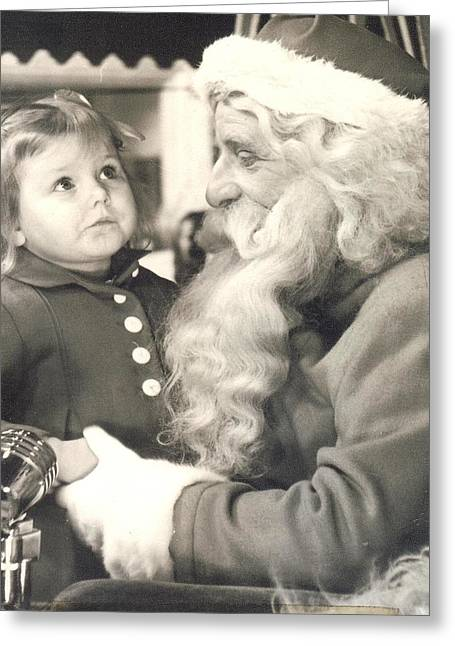 Visiting Santa For The First Time Greeting Card