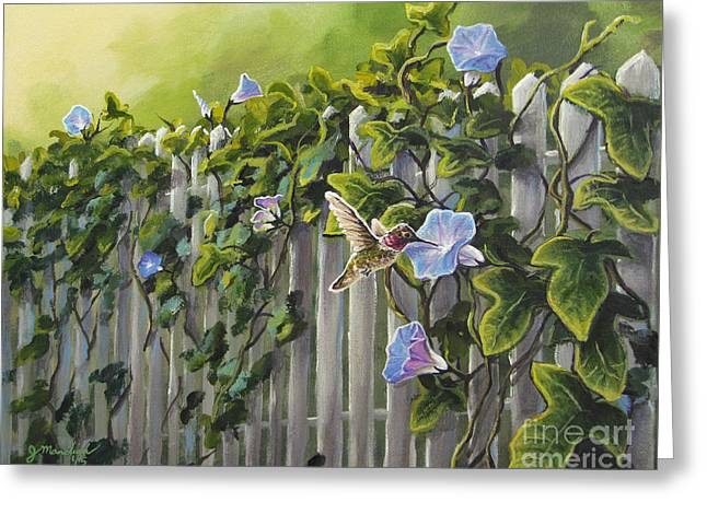 Visiting The Morning Glories Greeting Card by Joe Mandrick