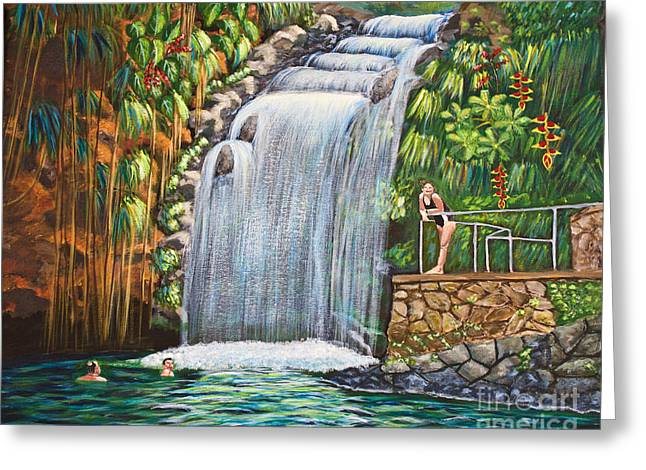 Visitors To The Falls Greeting Card by Laura Forde