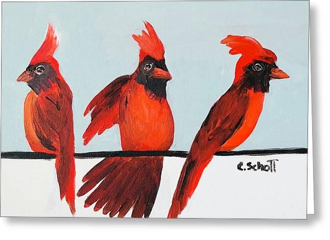 Visits From A Dancing Cardinal Greeting Card