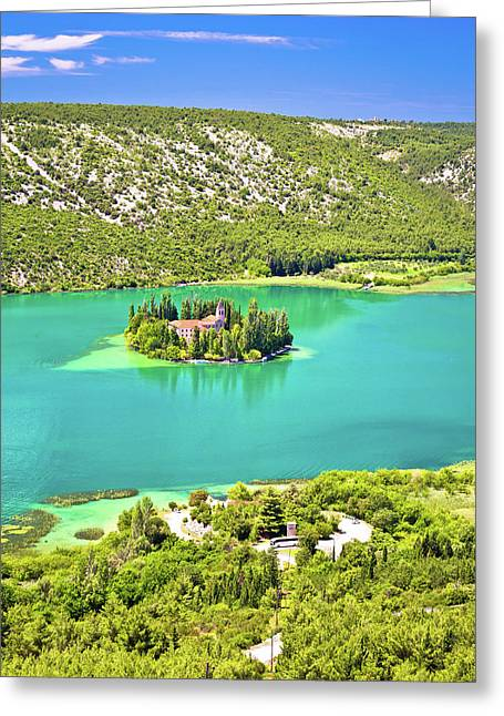 Visovac Lake Island Monastery Aerial View Greeting Card by Brch Photography
