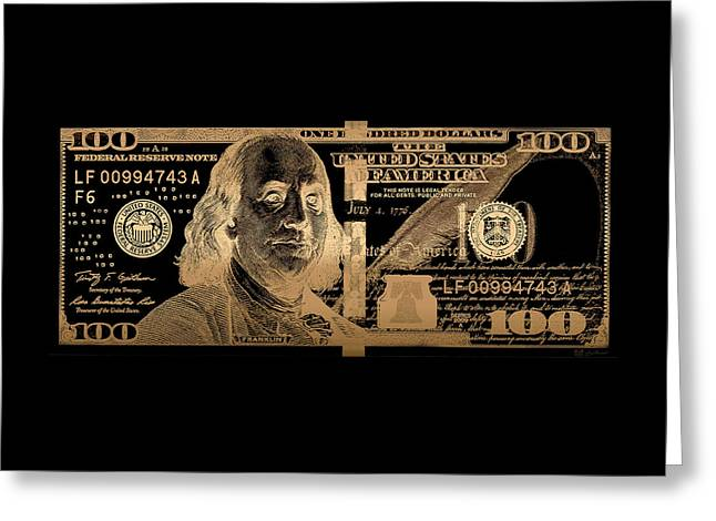 One Hundred Us Dollar Bill - $100 Usd In Gold On Black Greeting Card