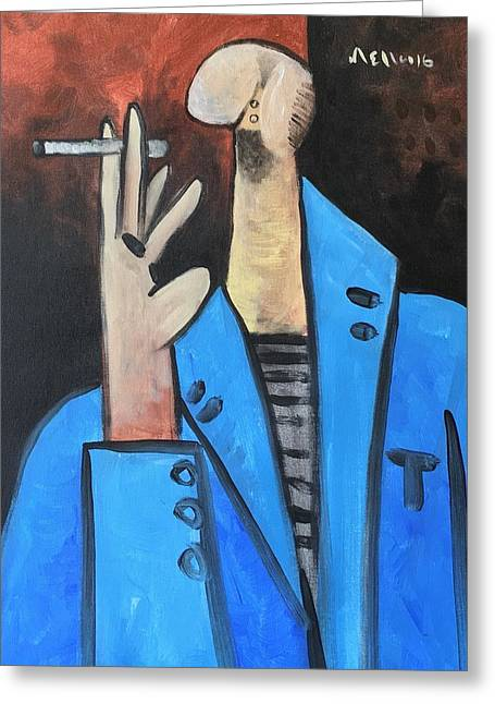 Vitae The Smoker In A Blue Blazer  Greeting Card by Mark M Mellon