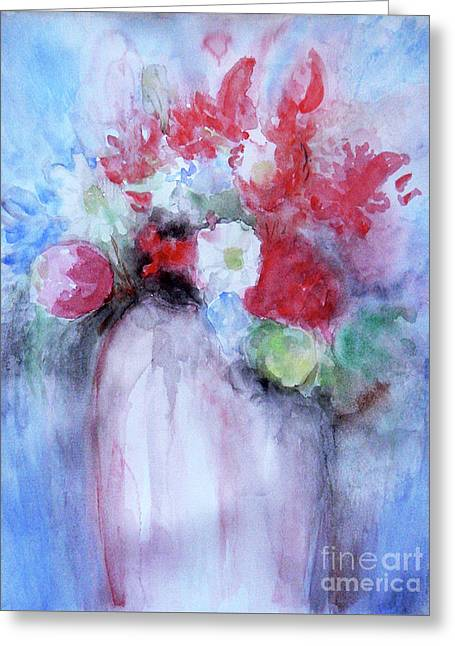Greeting Card featuring the painting Vitality Still Life by Jasna Dragun