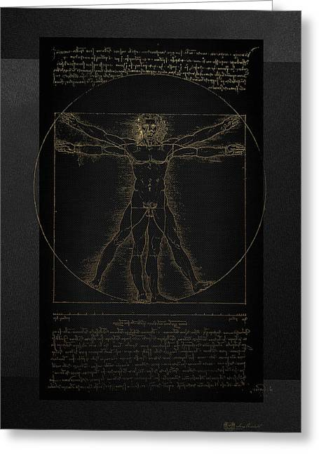 Vitruvian Man By Leonardo Da Vinci In Gold On Black Greeting Card by Serge Averbukh