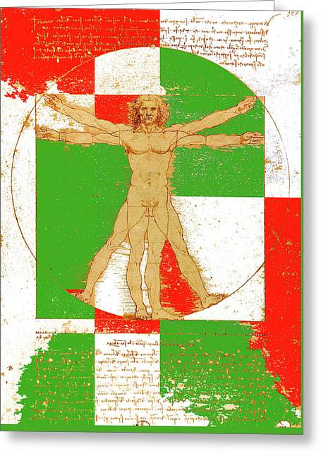 Vitruvian Man In Color Greeting Card by Vadim Goodwill