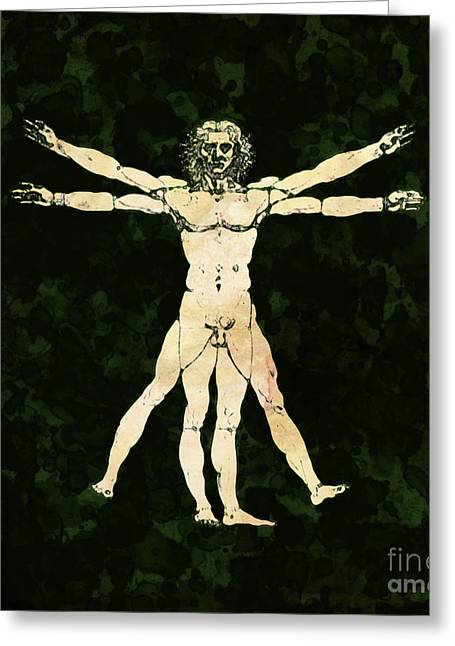 Vitruvian Man Pop Art By Mary Bassett Greeting Card