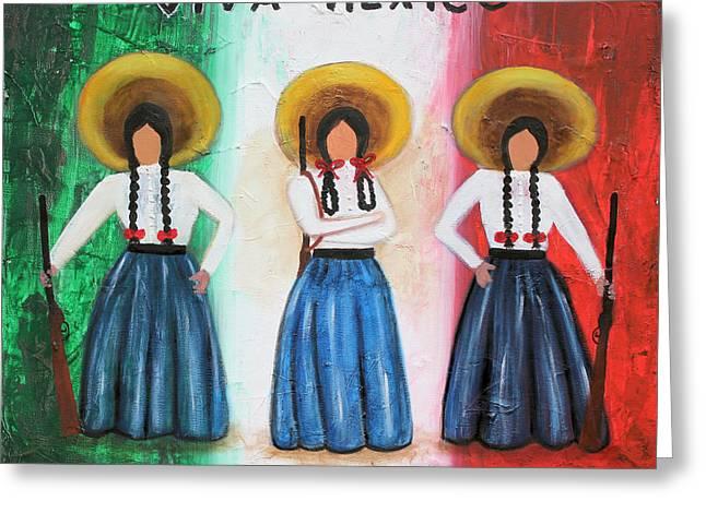 Liberation Mixed Media Greeting Cards - Viva Mexico Greeting Card by Sonia Flores Ruiz