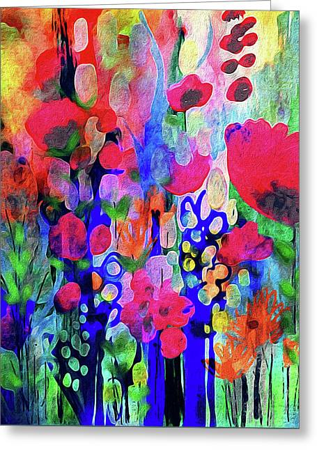 Vivacious Blooms Greeting Card by Robin Mead