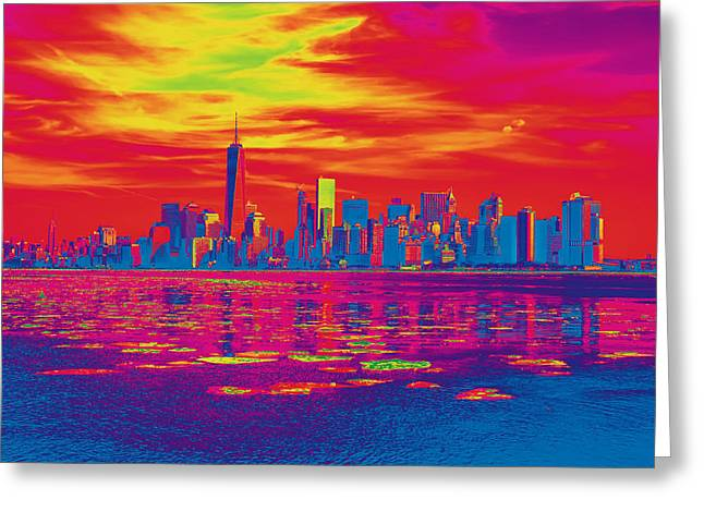 Vivid Skyline Of New York City, United States Greeting Card