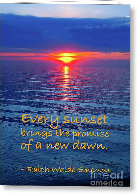 Vivid Sunset With Emerson Quote Greeting Card