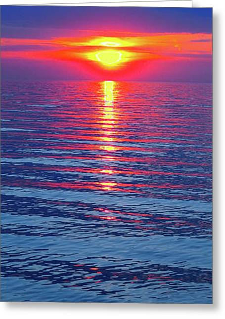 Vivid Sunset With Emerson Quote - Vertical Format Greeting Card
