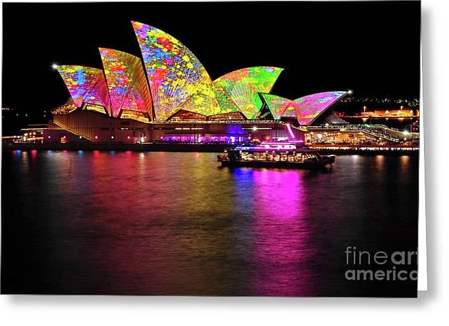 Vivid Sydney 2014 - Opera House 4 By Kaye Menner Greeting Card by Kaye Menner