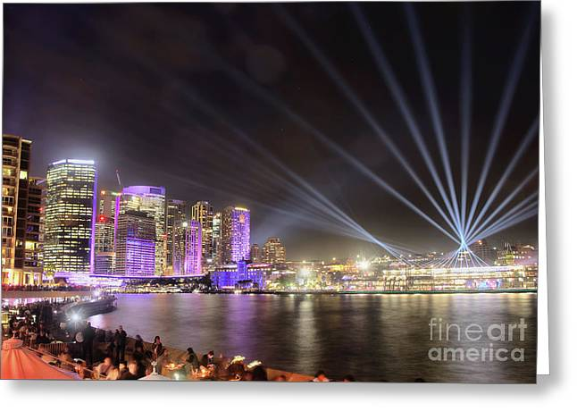 Vivid Sydney Skyline By Kaye Menner Greeting Card