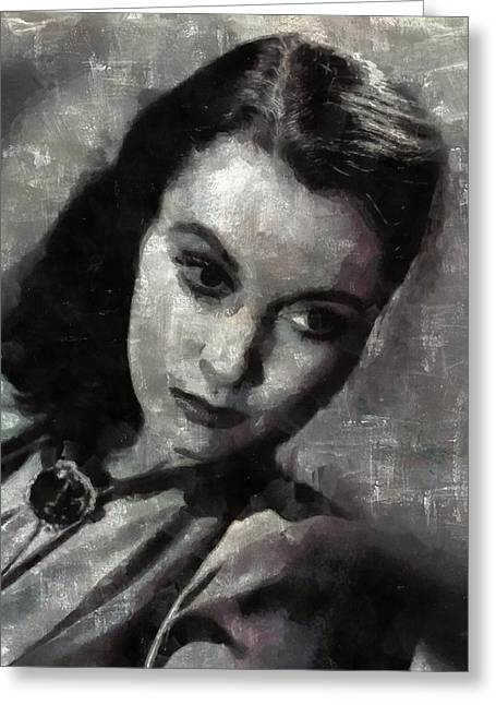 Vivien Leigh By Mary Bassett Greeting Card by Mary Bassett